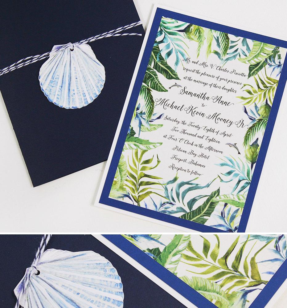 Tropical Watercolor Wedding Invitations