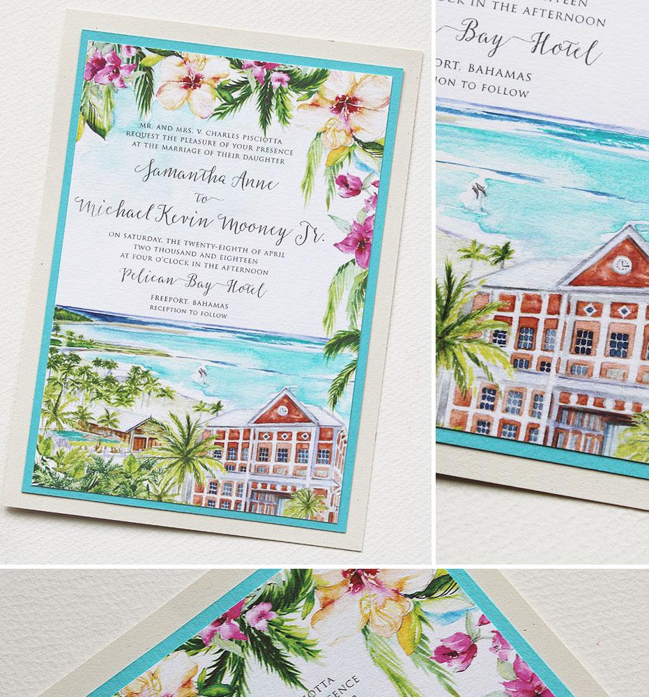 Watercolor Bahamas Wedding Stationery