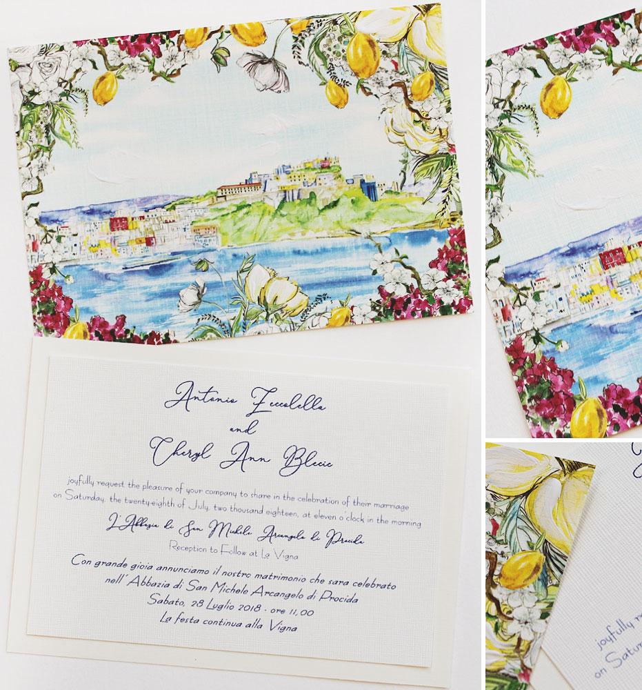 Watercolor Italy Procida Wedding Invitation