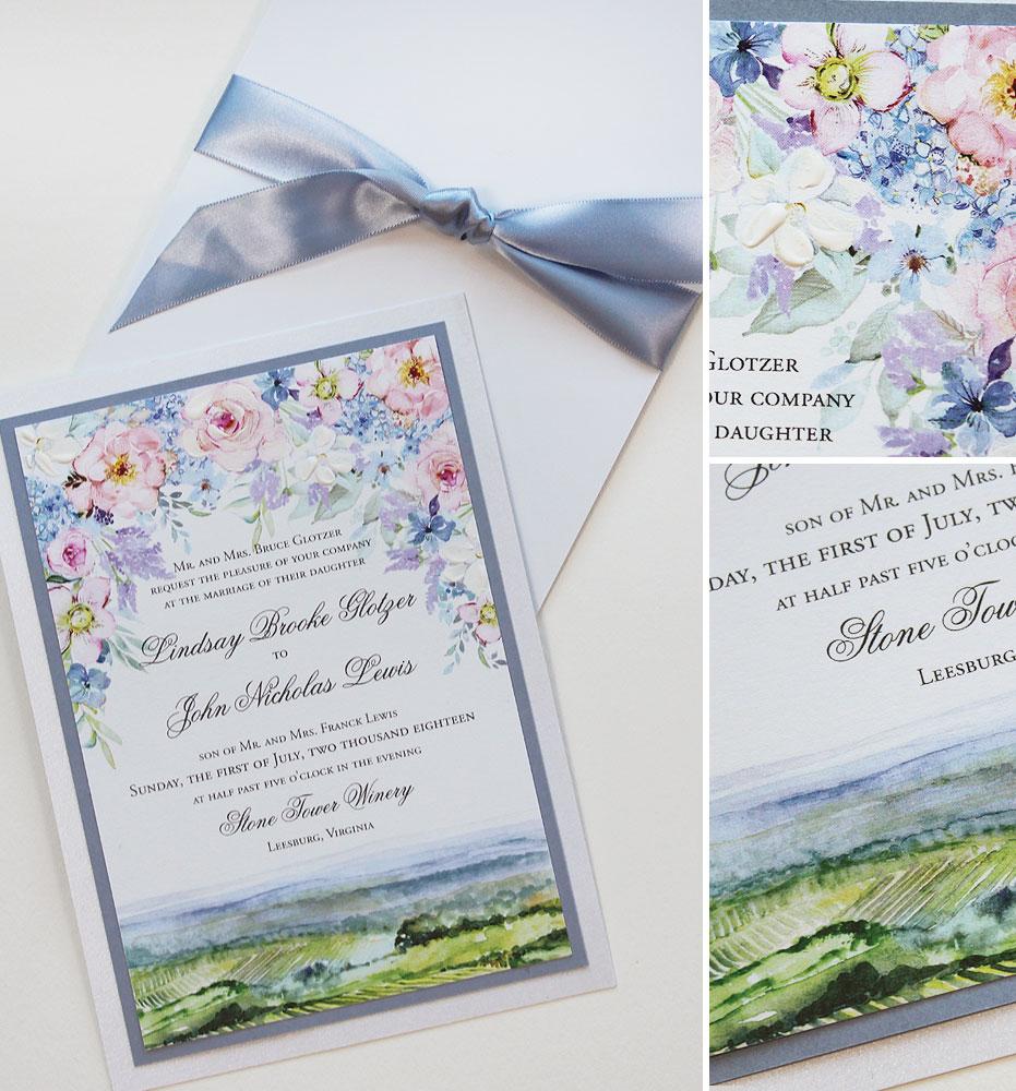 Virginia Vineyard Wedding Invitation