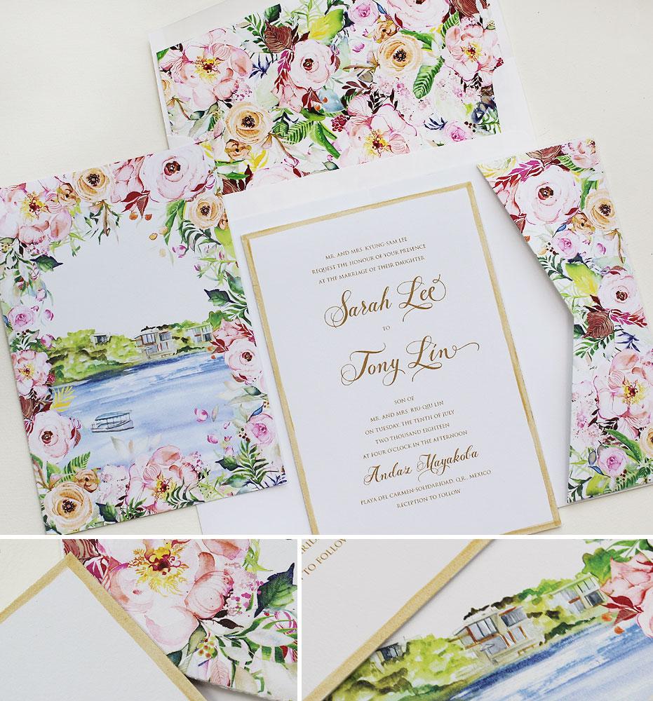 Watercolor Floral Mexico Wedding Invitations