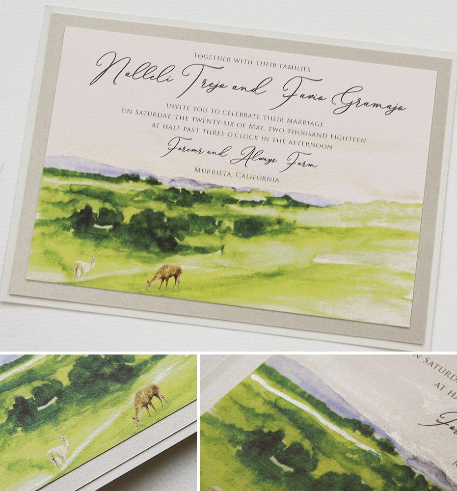 Watercolor California Landscape Wedding Invitations