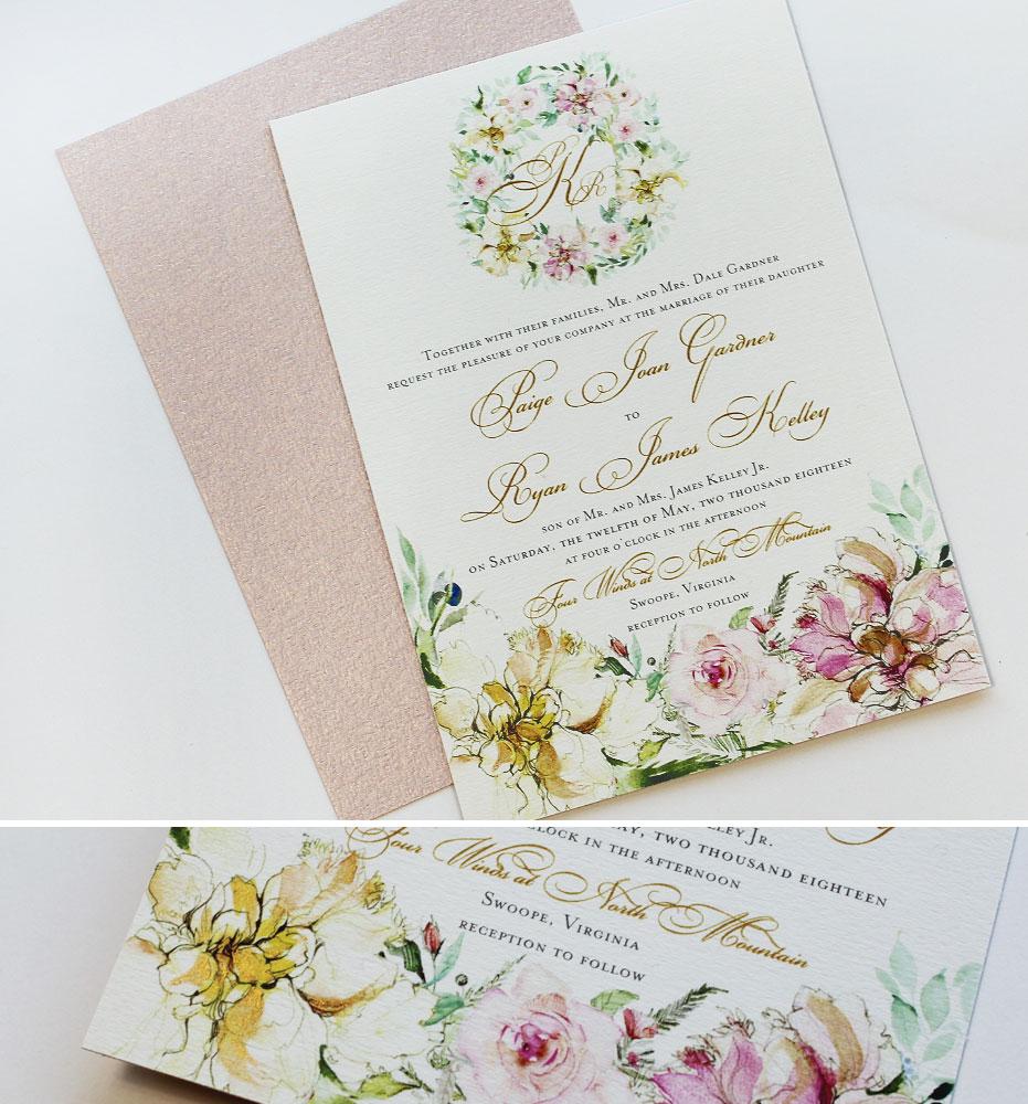 Pink Peony Wedding Invitation