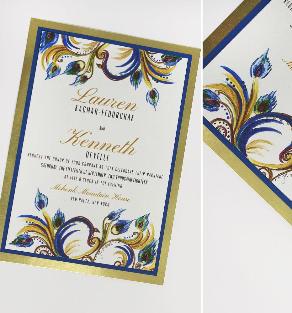 Hand Painted Versailles Swirl Wedding Invites