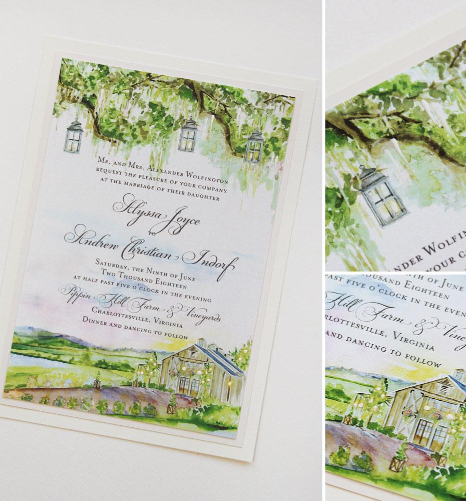 Rustic Vineyard Wedding Invitation