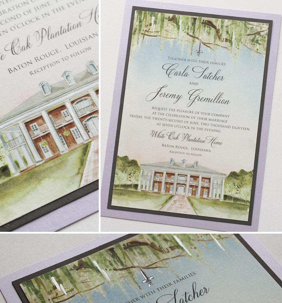 White Oak Plantation Wedding Invitation