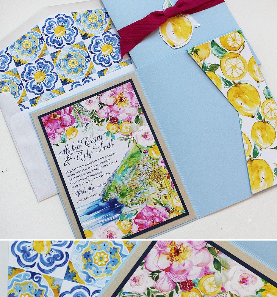 Watercolor Positano Wedding Invitation
