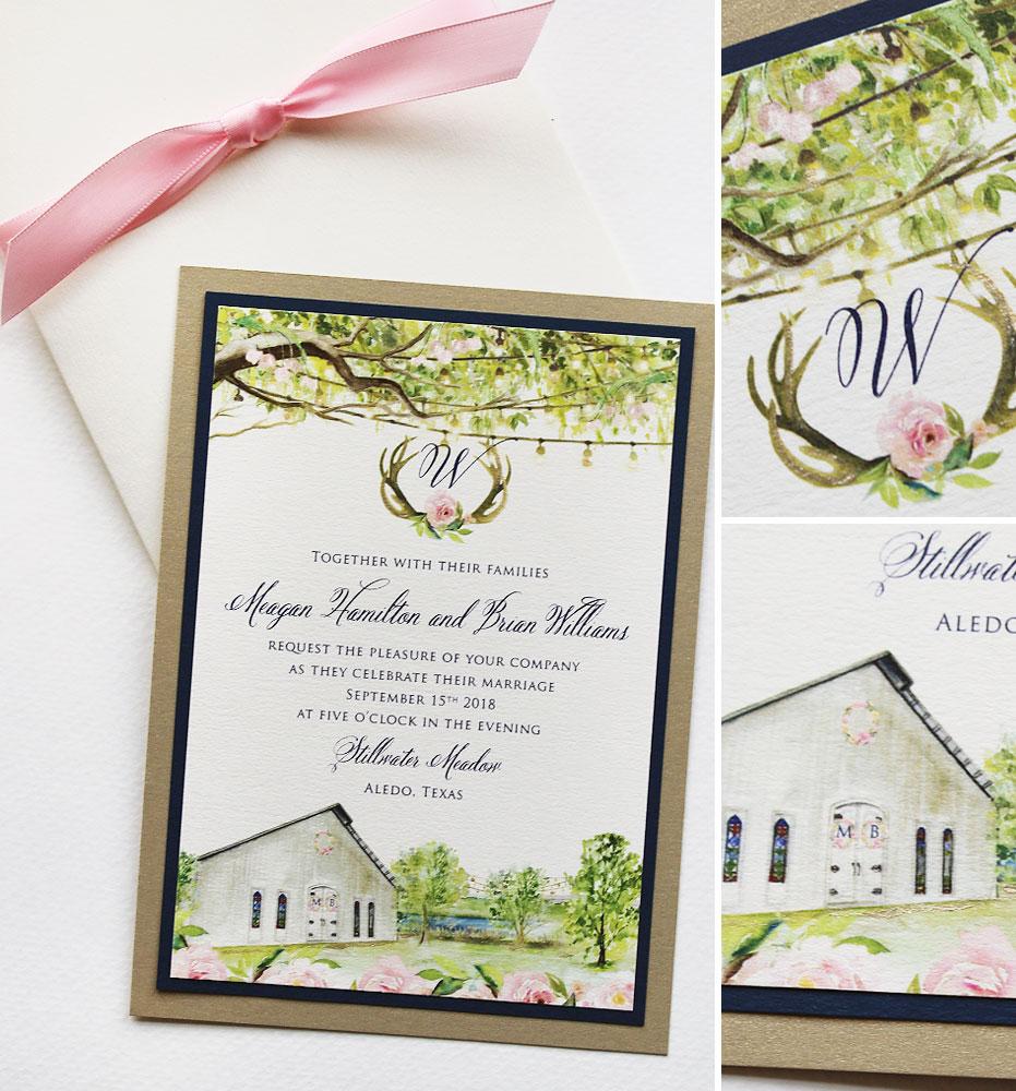 Rustic Watercolor Farm Wedding Invitation