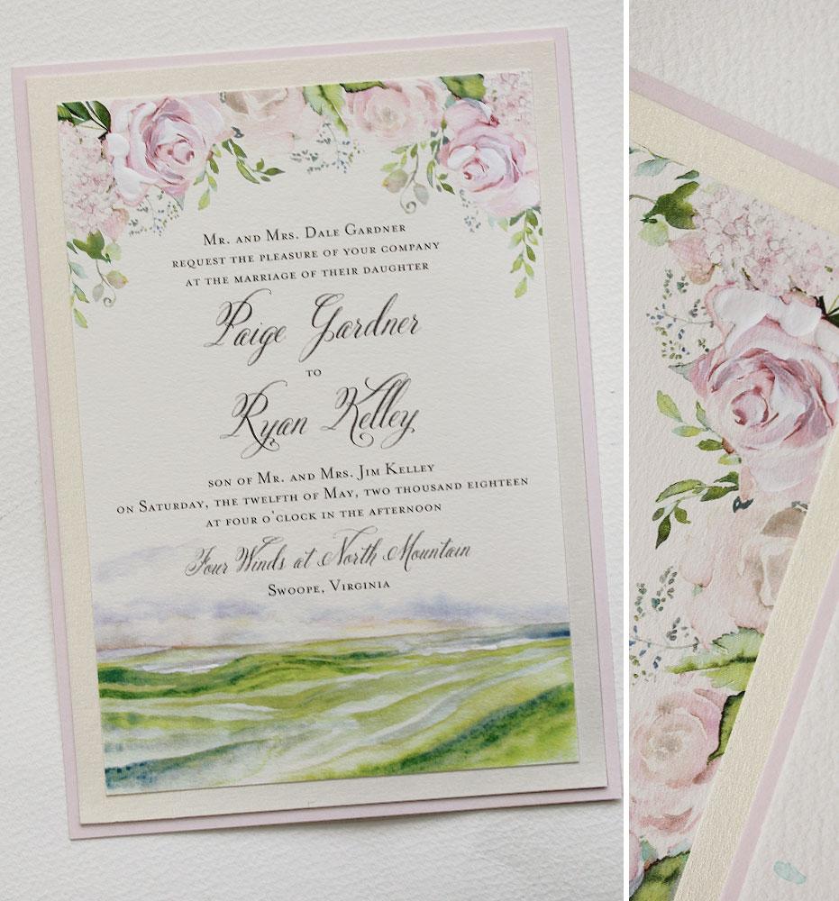Soft Blush Floral Wedding Invitation