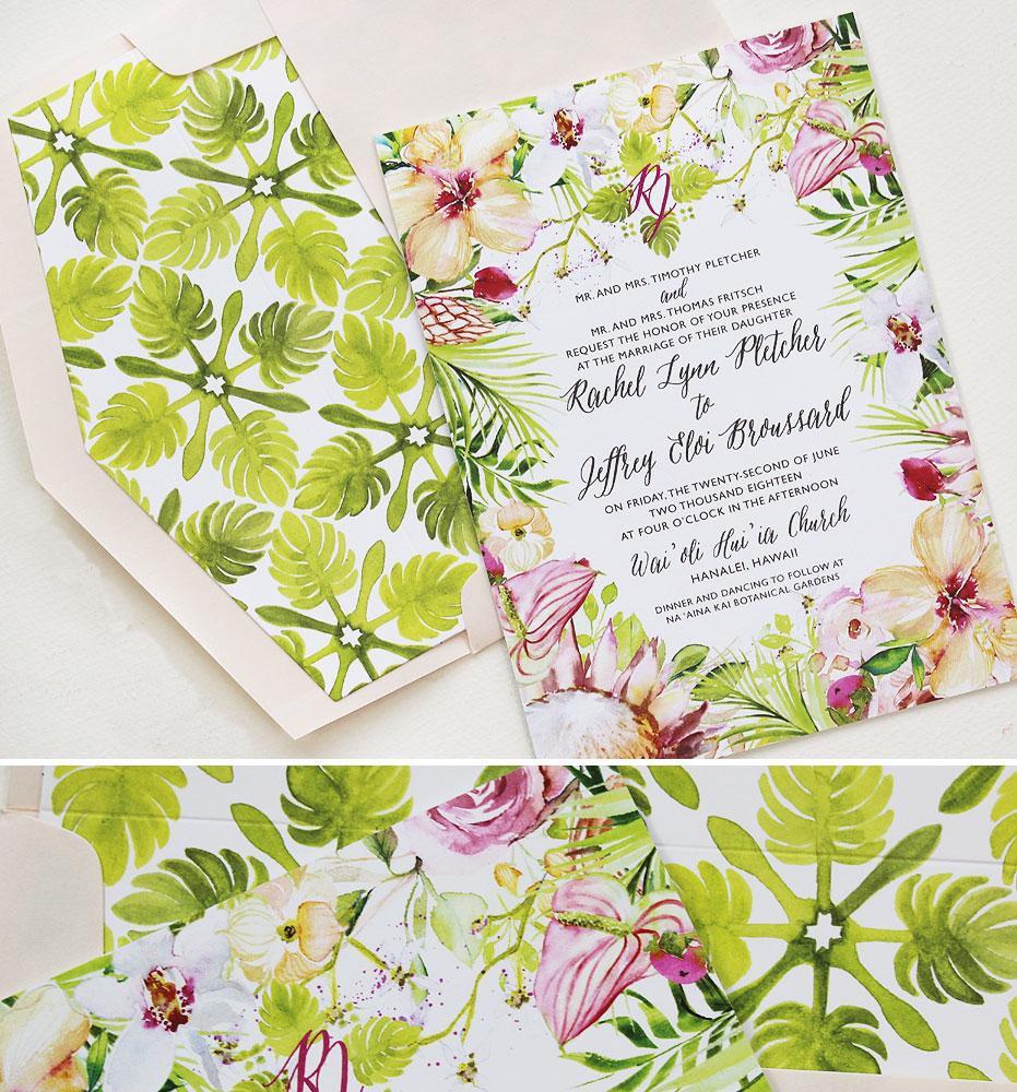 Tropical Floral Hawaii Wedding Invitations