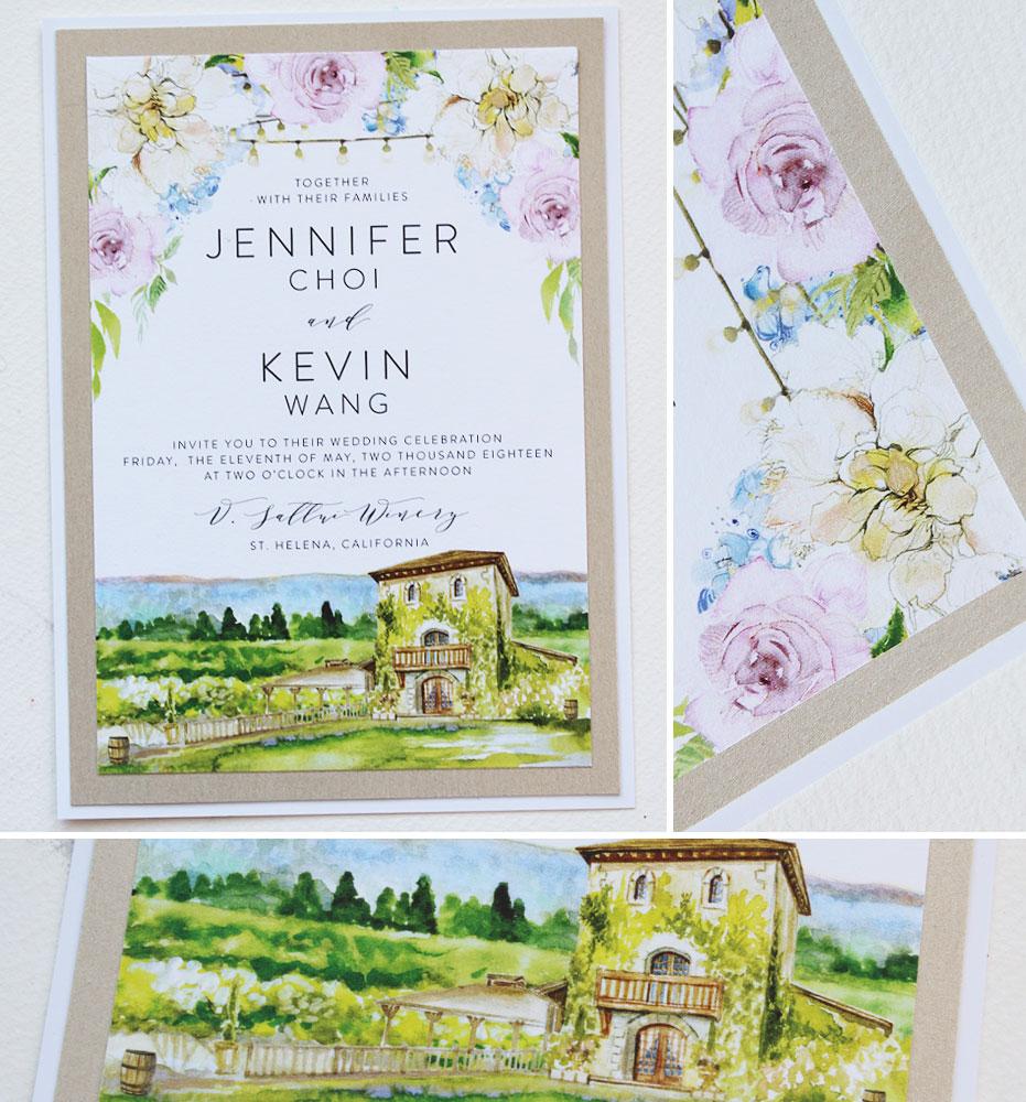 California Wine Country Wedding Invitation