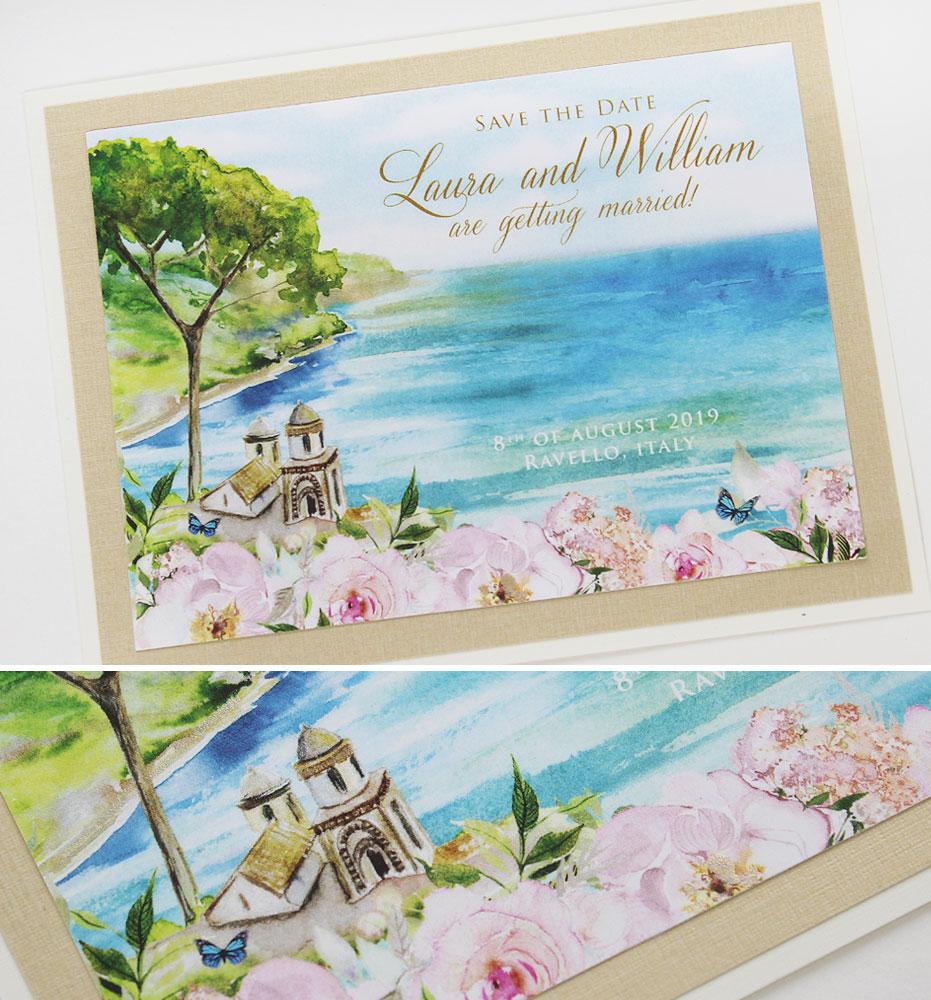 Watercolor Amalfi Coast Save the Date