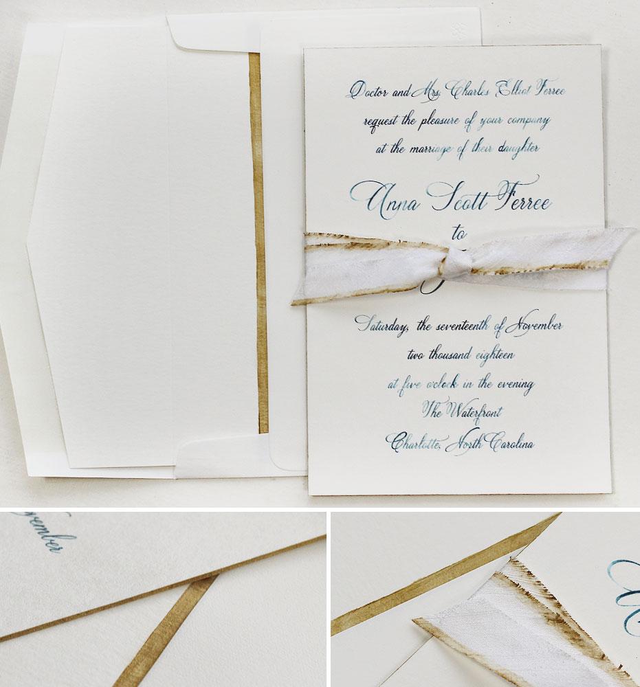 Watercolor Calligraphy Wedding Invitations