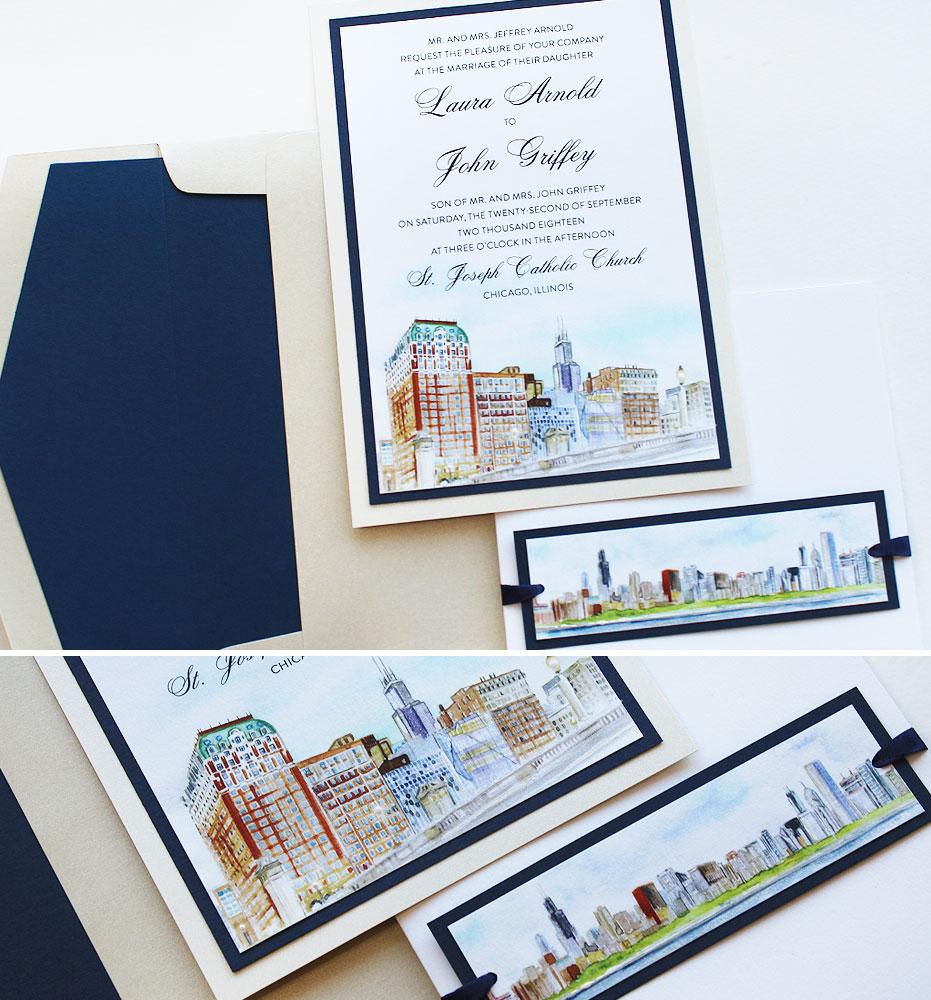 Watercolor Chicago Wedding Invitations