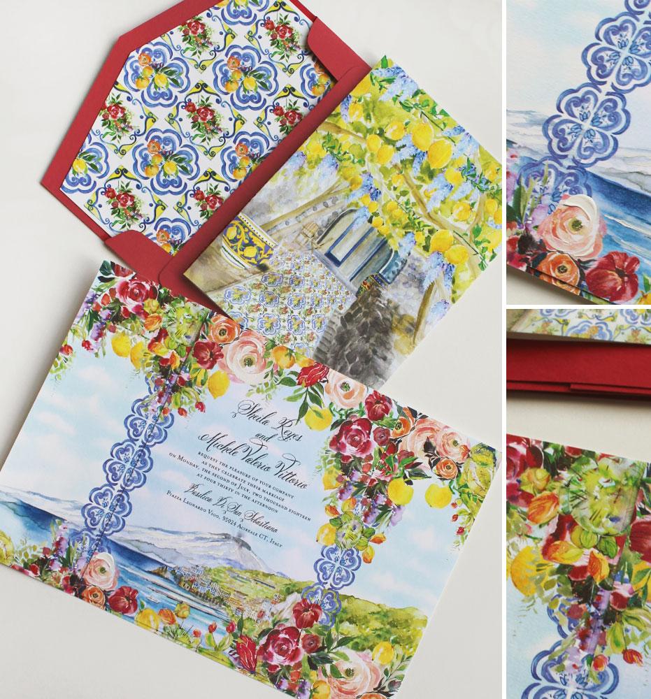 Italian Tile Wedding Invitation