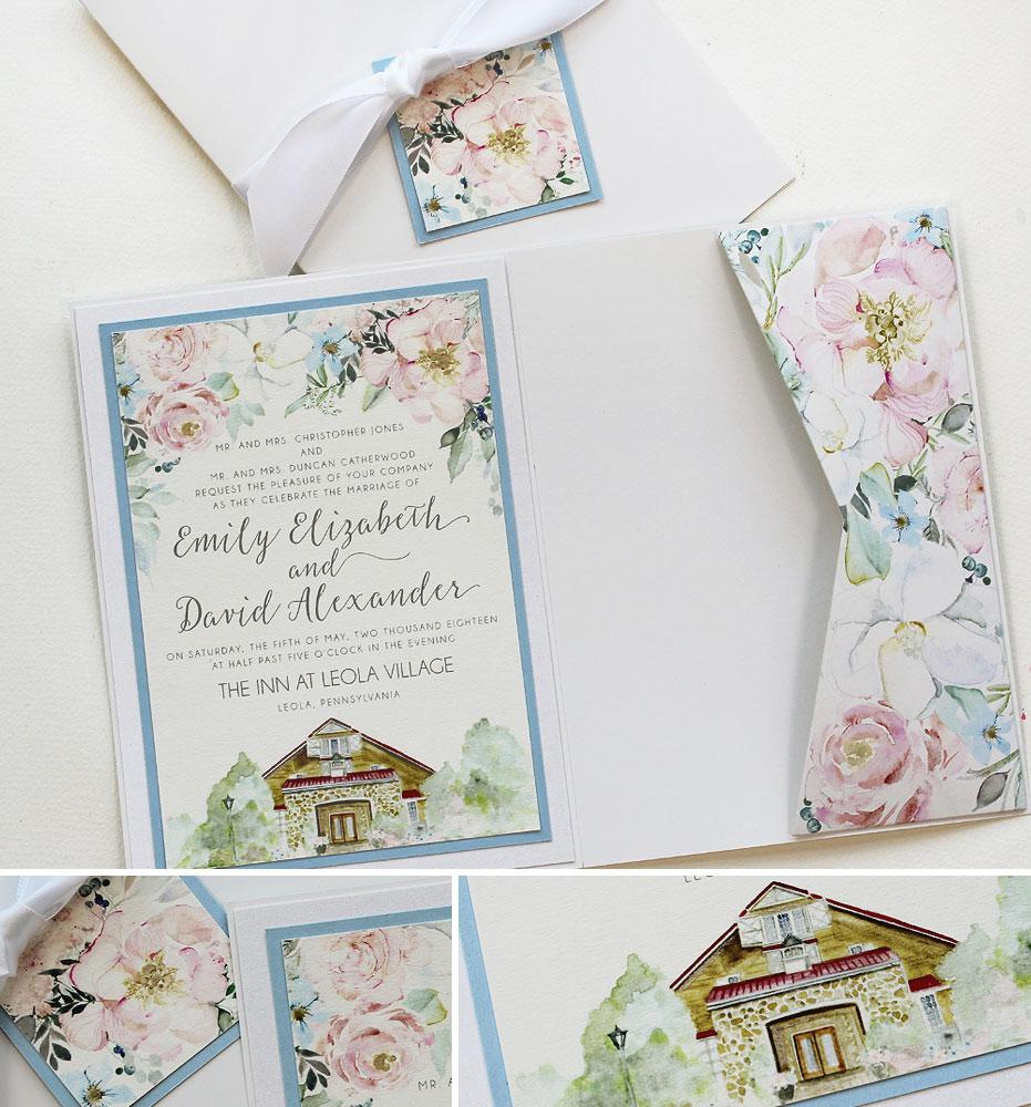 Soft Floral and Venue Illustration Wedding Invite