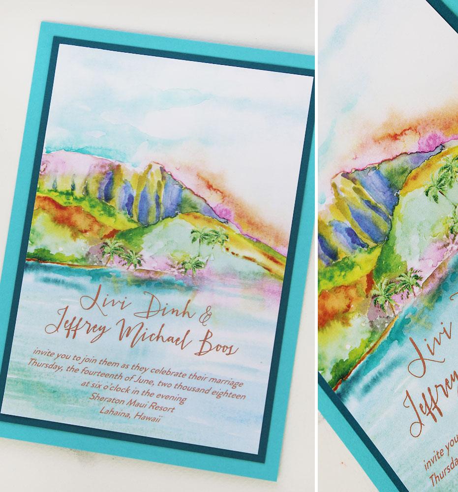 Watercolor Hawaii Destination Wedding Invitations