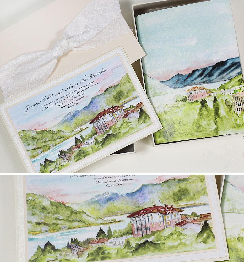 Soft Watercolor Lake Como Italy Wedding Inivtations