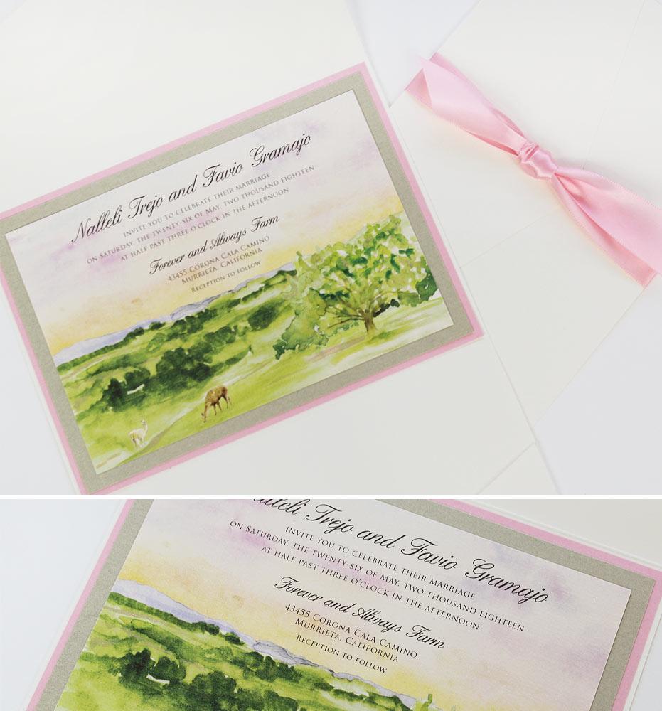 Rustic Watercolor Landscape Wedding Invitations