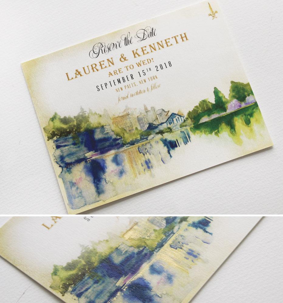 Watercolor Landscape Save the Dates