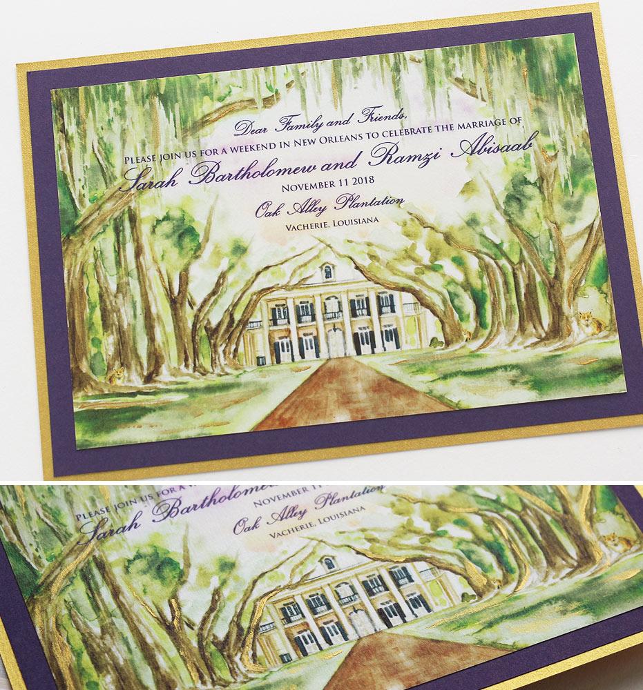 Oak Alley Plantation Wedding Invitation