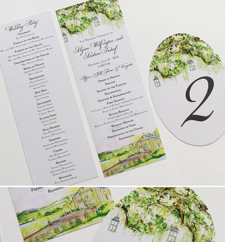 Watercolor Oak Tree Wedding Day Accessories
