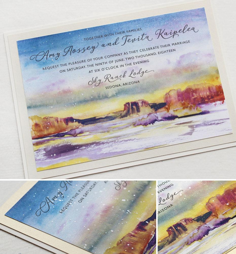 Watercolor Sedona Arizona Wedding Invitations