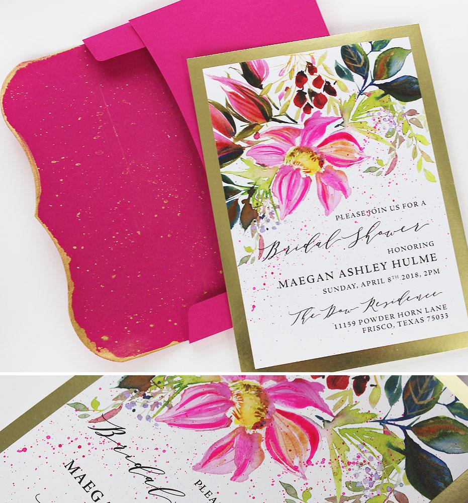 Watercolor Floral Artistic Bridal Shower Invitation