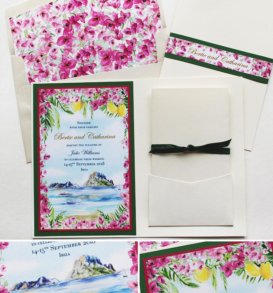 Watercolor Ibiza Wedding Invitations