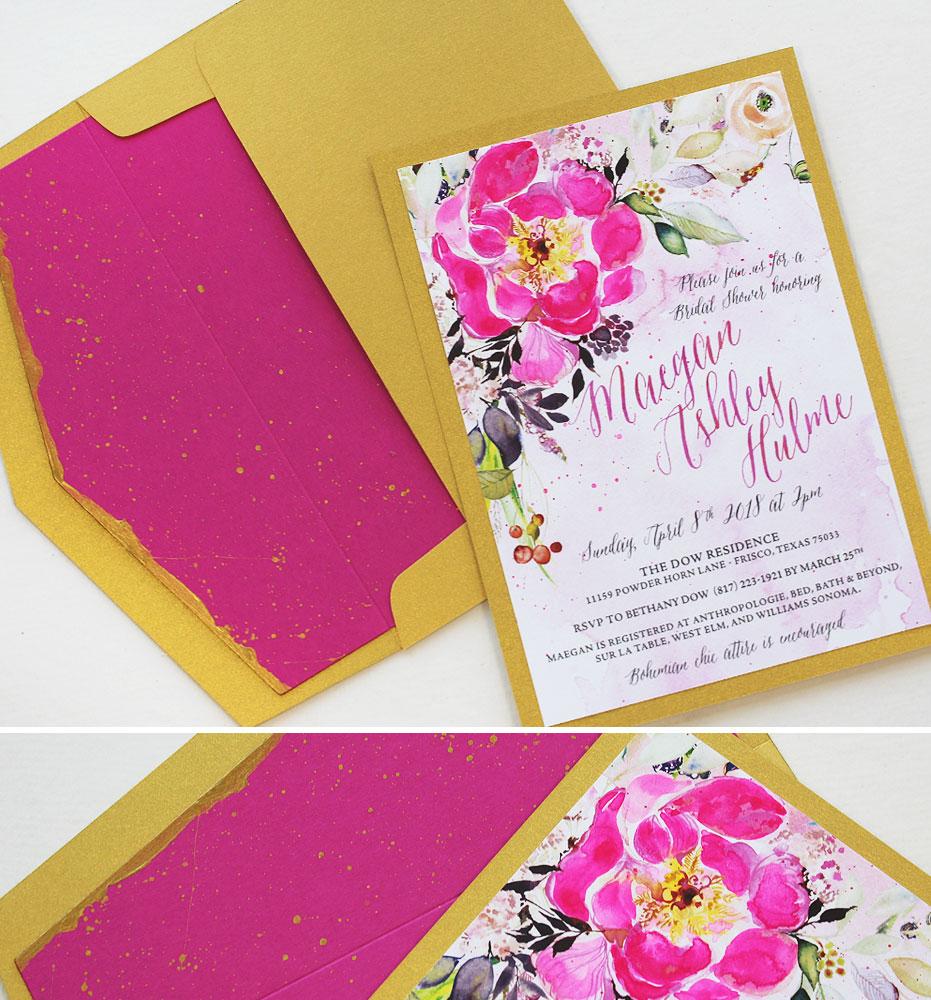 Fuchsia Floral Bridal Shower Invitations