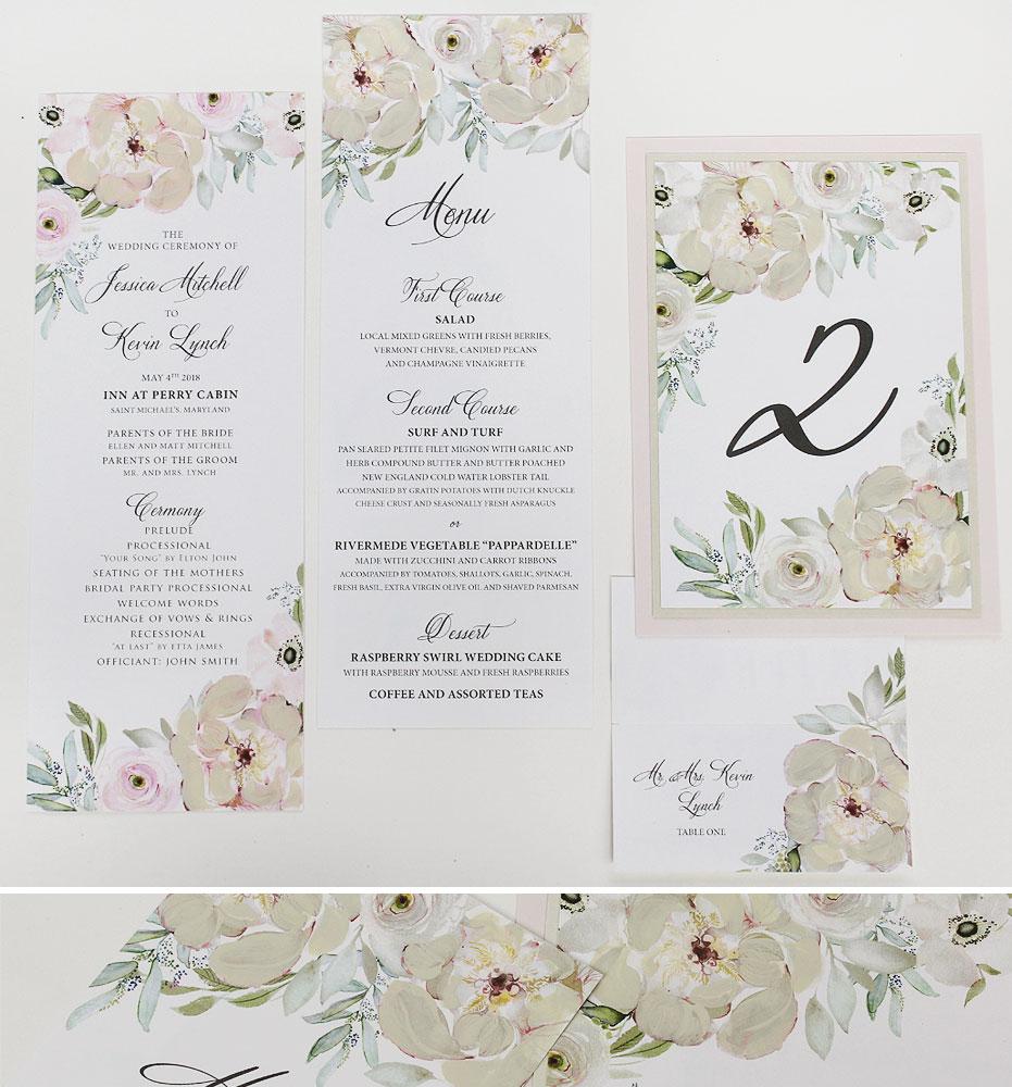 Ivory Floral Wedding Stationery
