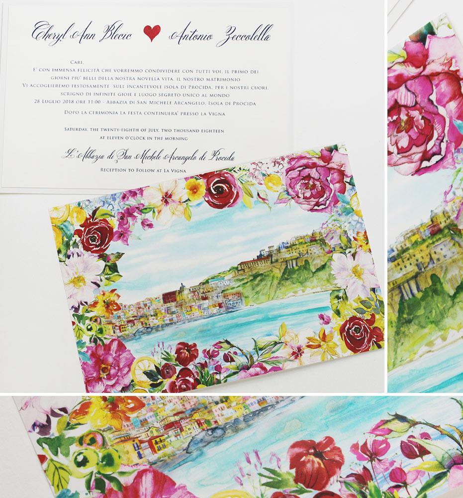Watercolor Amalfi Coast Wedding Invitations