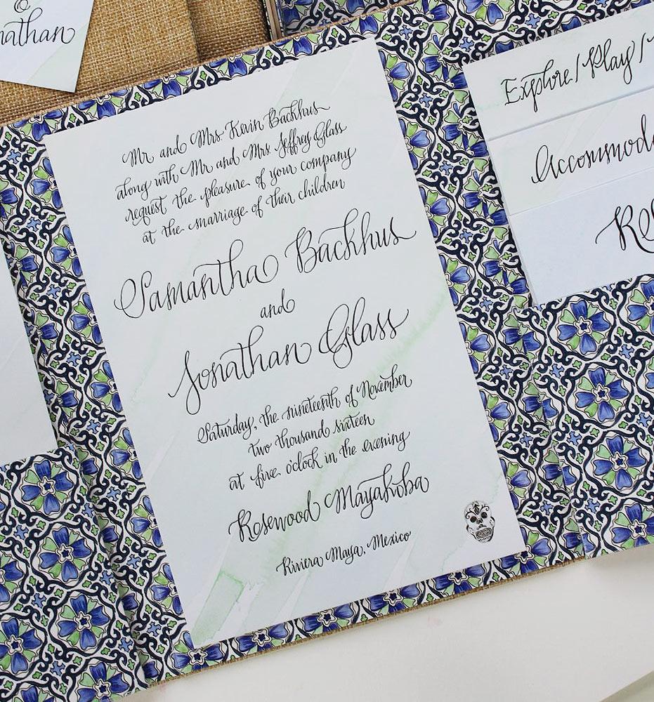 Tile Pattern Wedding Invitations