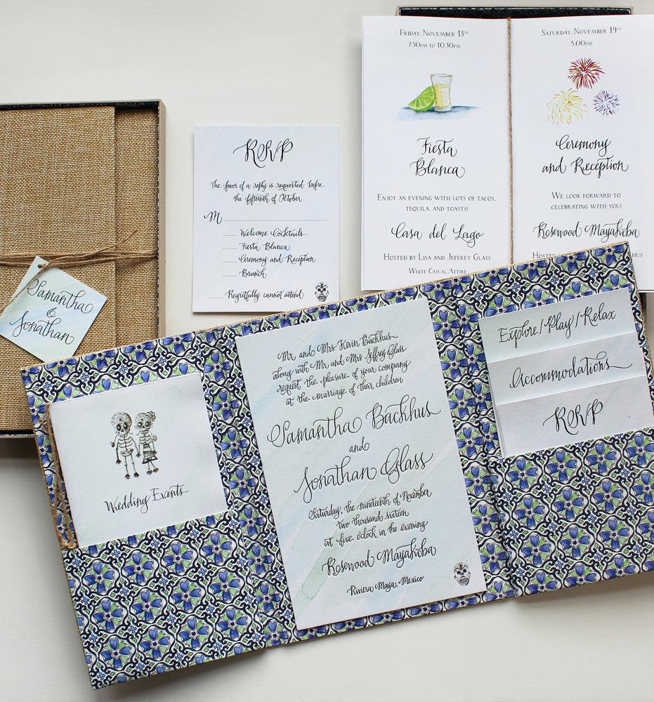 Pin It Custom Mexico Wedding Invitations