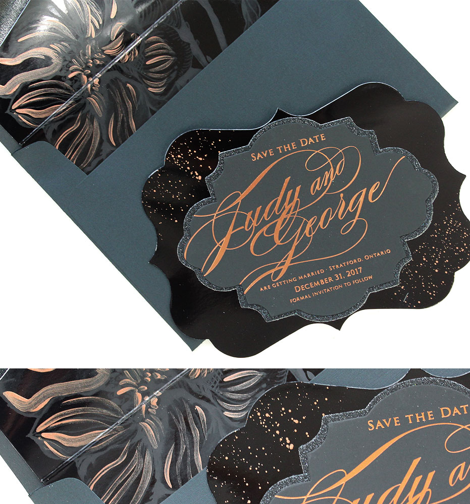Rose Gold Foil Save the Dates