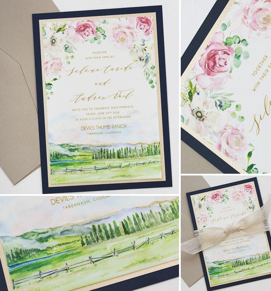 Watercolor Rustic Floral Colorado Wedding Invitation