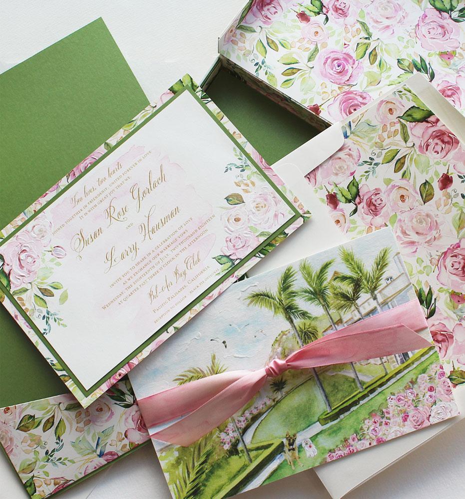 Watercolor Floral Pattern Wedding Invitation