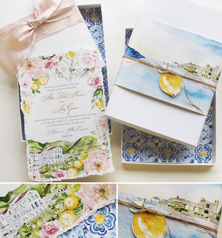 Watercolor Italy Destination Wedding Invitation