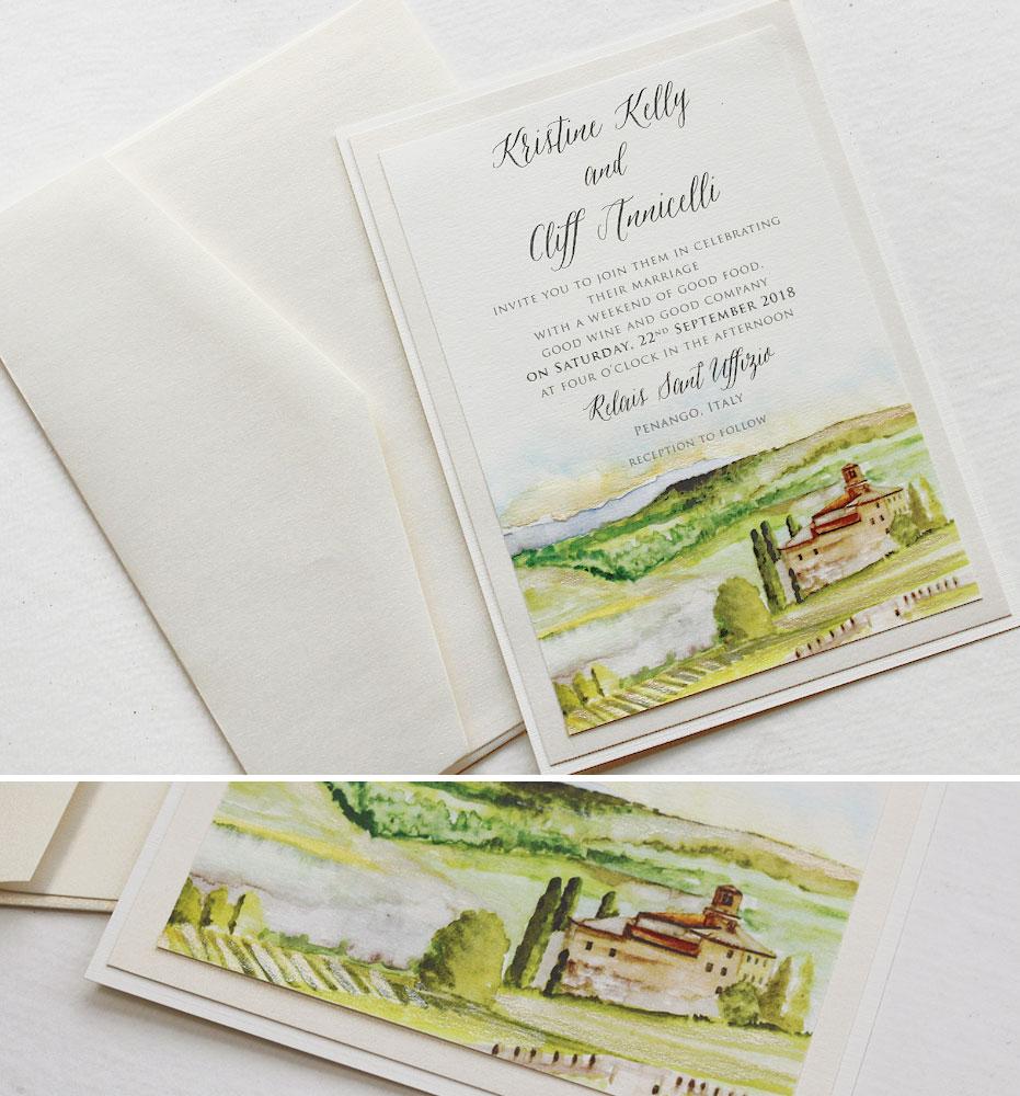 Watercolor Italy Landscape Wedding Invitation