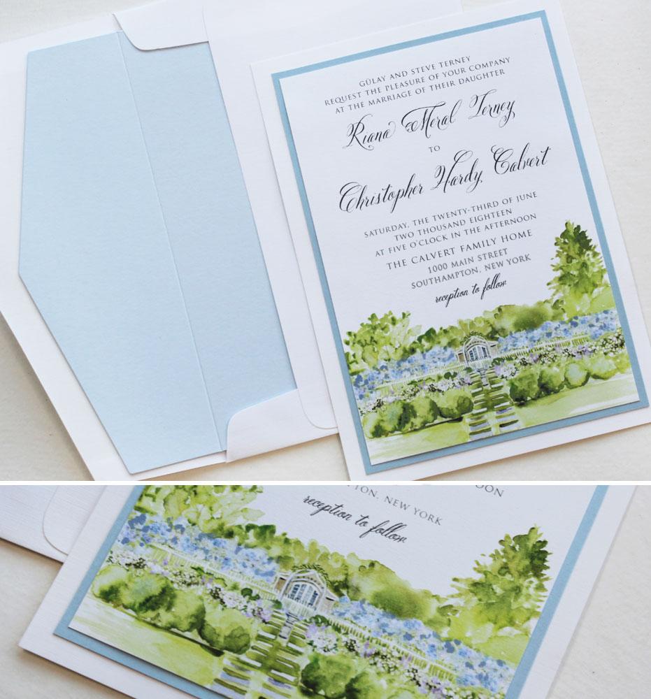 Watercolor Garden Wedding Invitations
