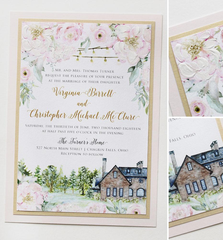 Blush Floral Summer Wedding Invitations