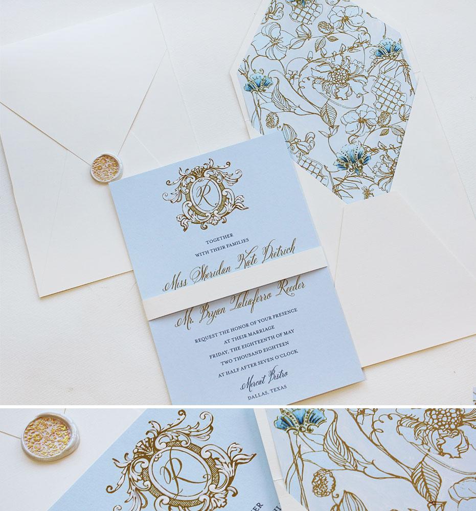 Gold Foil Monogram Wedding Invitations