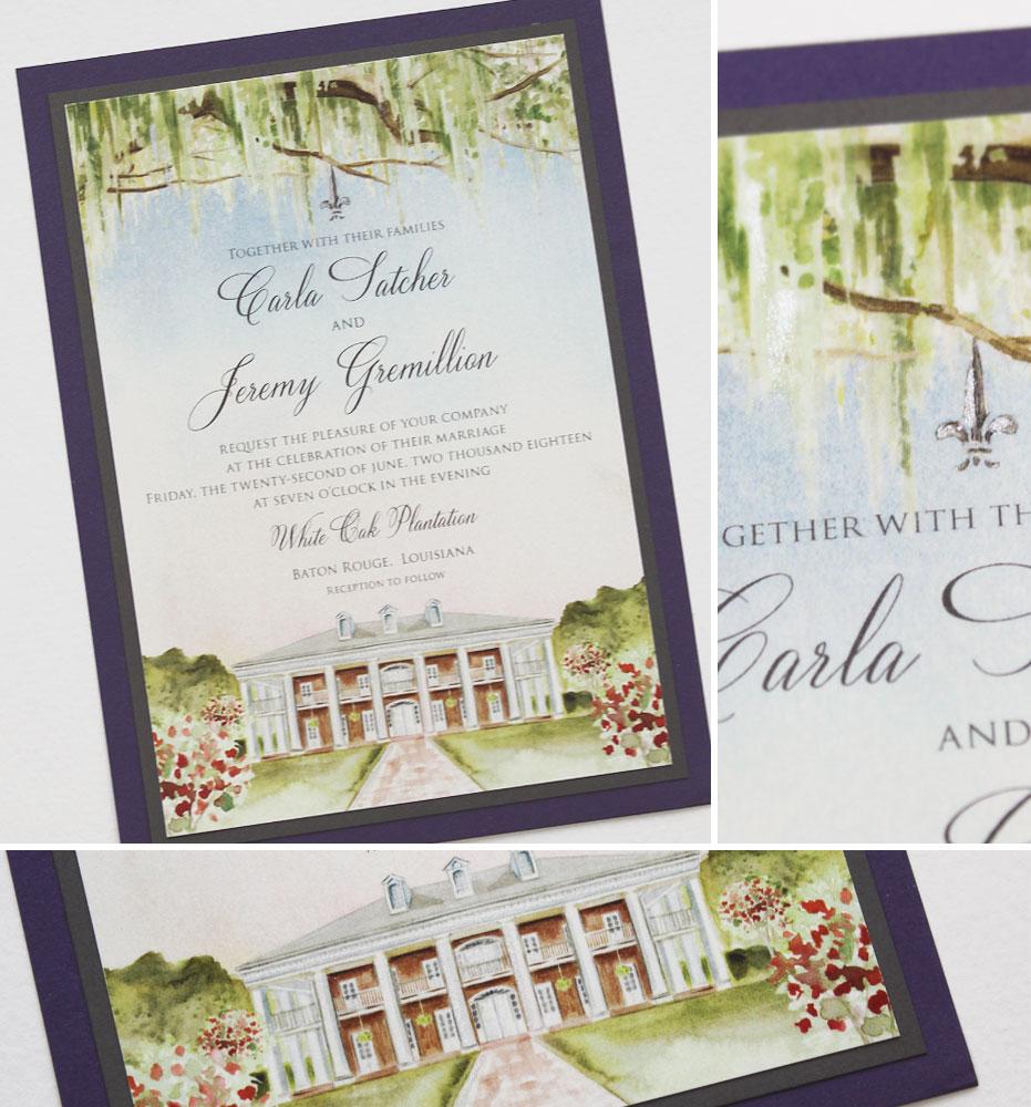 Louisiana Plantation Wedding Invitations