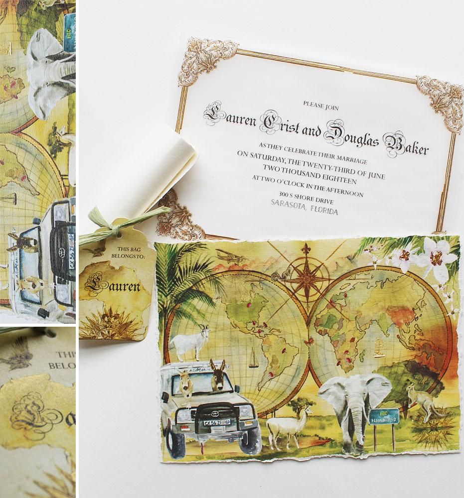 Watercolor Map Wedding Invitation