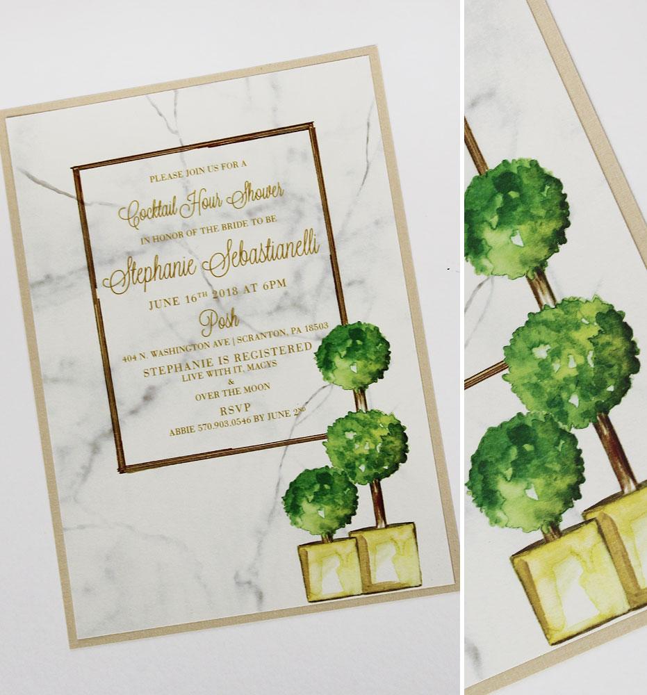 Marbled Bridal Shower Invitations