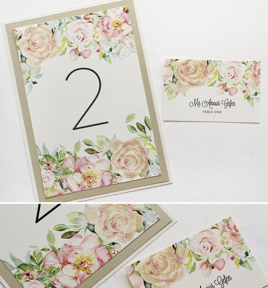 Peach Floral Wedding Stationery
