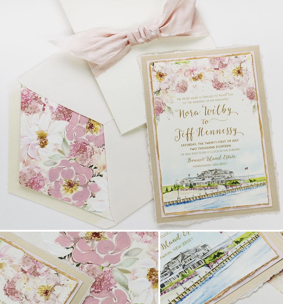Pink Floral and Custom Venue Illustration Wedding Invitation