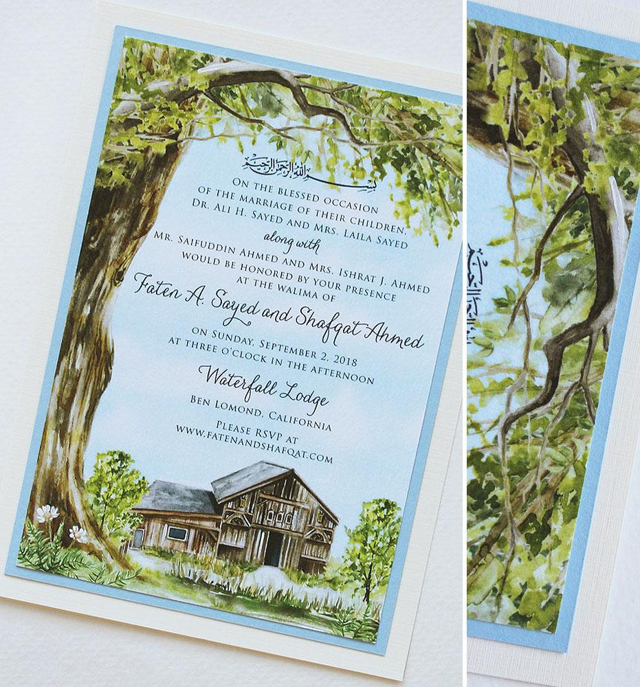 Rustic Watercolor Tree Wedding Invitations