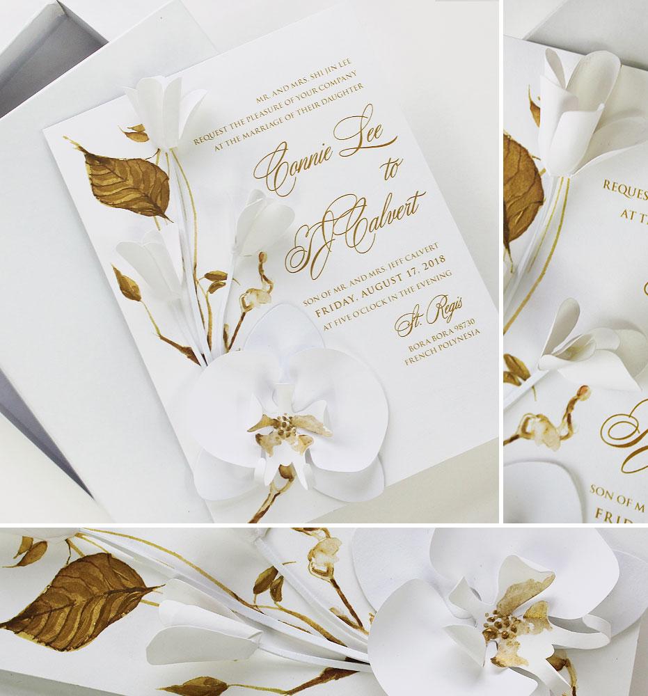 White Sculpted Bloom Wedding Invitation
