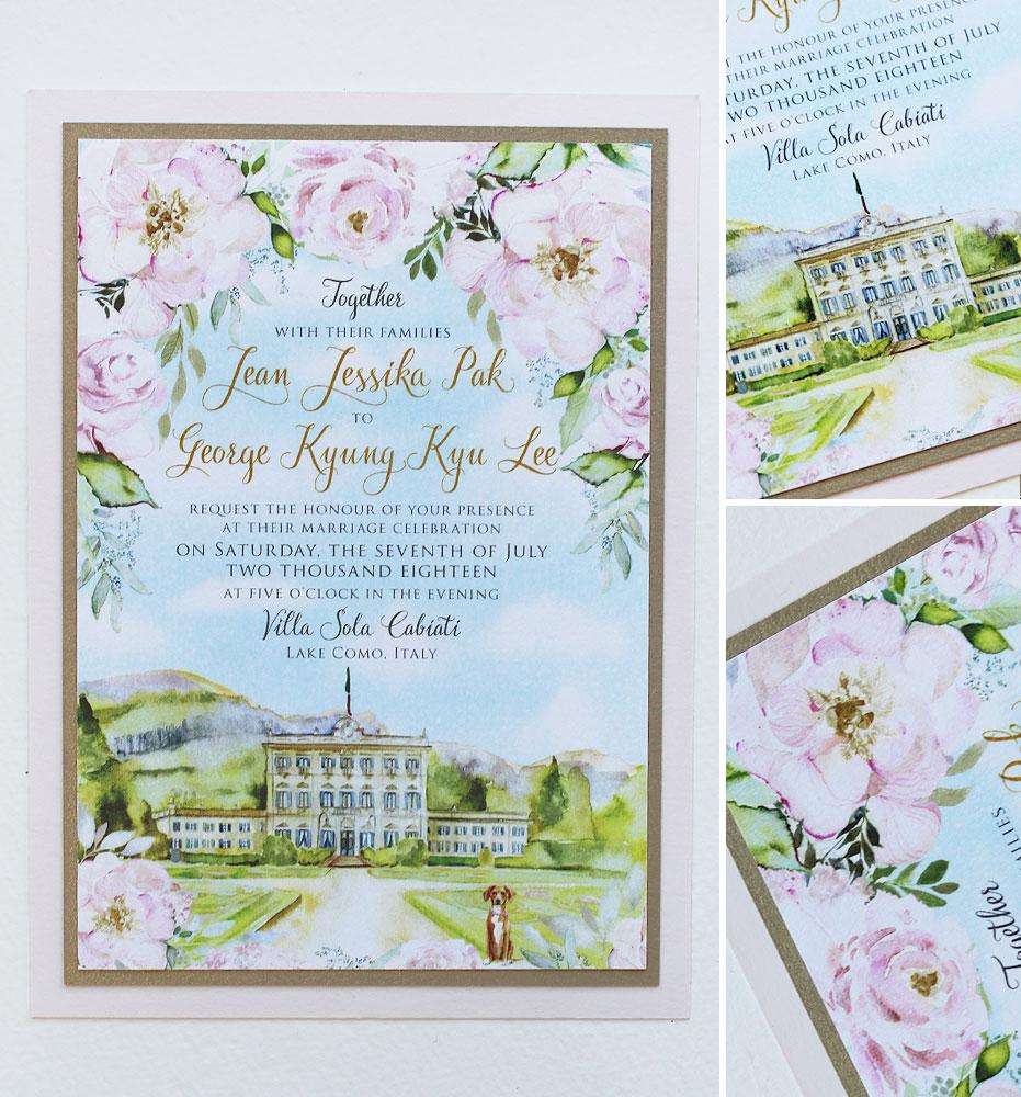Watercolor Lake Como Wedding Invitations
